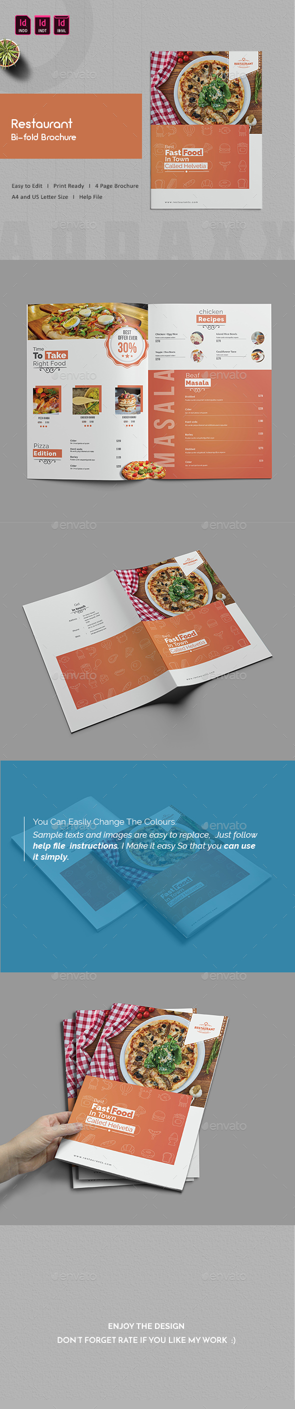 Restaurant Bi-fold Menu - Food Menus Print Templates