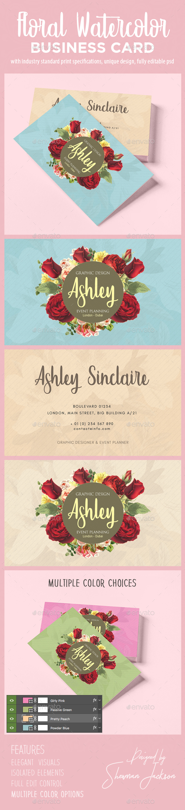 Floral Watercolor Business Card V.2 - Business Cards Print Templates