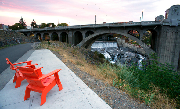 Sitting Area Chairs Riverfront View Arch Bridge Spokane Washington - Stock Photo - Images