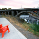 Sitting Area Chairs Riverfront View Arch Bridge Spokane Washington - PhotoDune Item for Sale