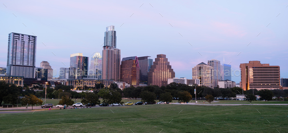 Butler Metro Park Grounds Night Dusk Downtown City Skyline Austin - Stock Photo - Images