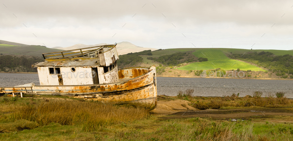 Abandoned Ship Rotting Boat Point Reyes Seashore California - Stock Photo - Images