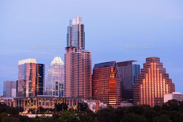 Butler Metro Park Grounds Night Dusk Downtown City Skyline Austin - Stock Photo - Images