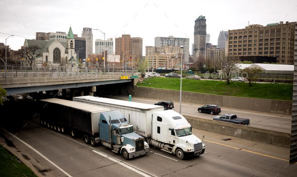 Interstate Highway Traffic Flows Arouund Detroit Michigan Metro - Stock Photo - Images
