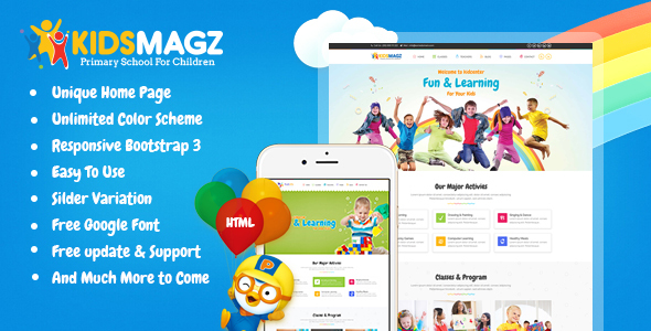 KidsMagz - Children & kids Education Bootstrap Template