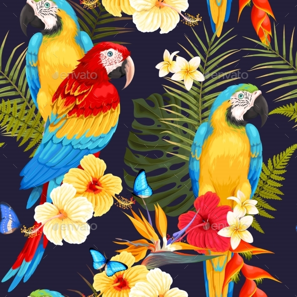 Seamless Macaw and Flowers - Flowers & Plants Nature