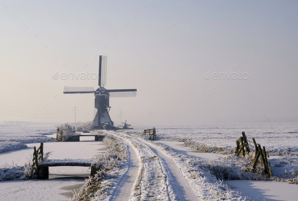 Tiendwegse mill in winter - Stock Photo - Images