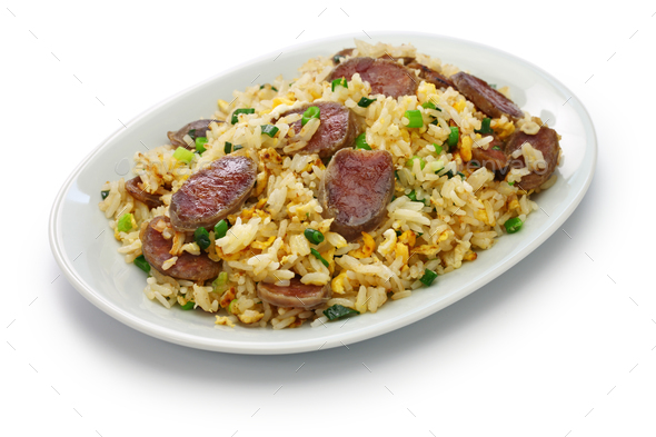 chinese sausage fried rice, xiang chang chao fan - Stock Photo - Images