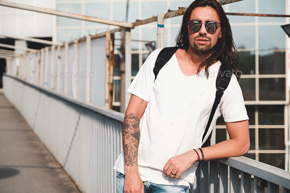 Attractive bearded man portrait with sunglasses - Stock Photo - Images