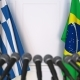 Flags of Greece and Brazil at International Press Conference - VideoHive Item for Sale