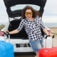 Happy Woman Traveler with Suitcases Near Her Car - VideoHive Item for Sale