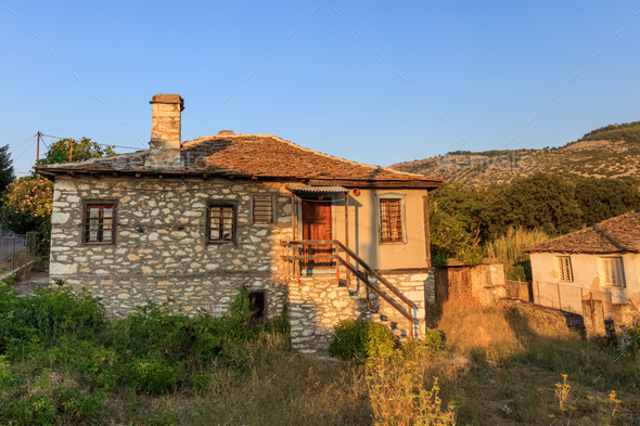 Old stone house in the village of Theologos. Thassos island, Greece - Stock Photo - Images