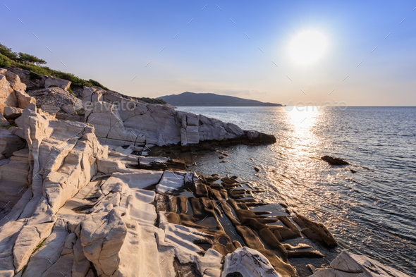 sunrise in Aliki. Thassos island, Greece - Stock Photo - Images