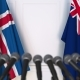 Flags of Iceland and Australia at International Press Conference - VideoHive Item for Sale