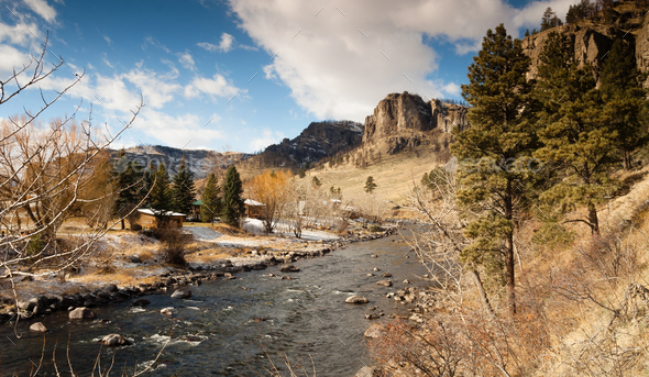Wild Western Riverfront Scene Rural Nature Living - Stock Photo - Images