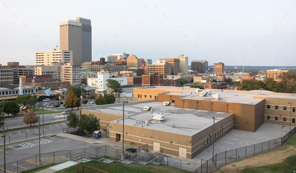 Downtown City Skyline Omaha Nebraska Midwest Urban Landscape - Stock Photo - Images