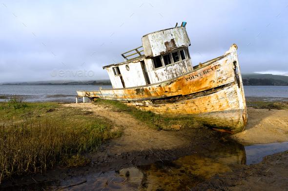 Abandoned Ship Rotting Boat Point Reyes Seashore California - Stock Photo - Images