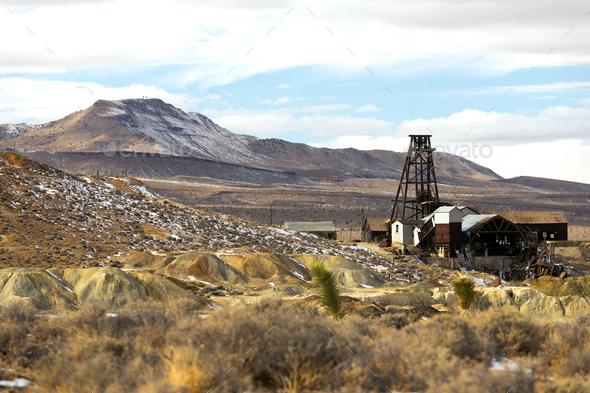 Abandoned Mine Shaft Nevada Territory Mountain Winter - Stock Photo - Images