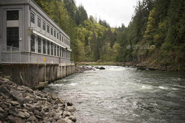 River Waterfall Powerhouse Power Generation Water Flow - Stock Photo - Images