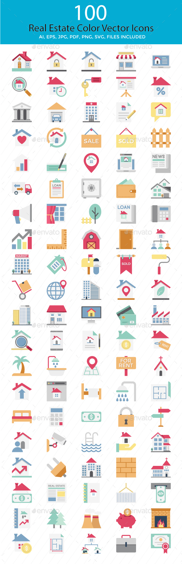 100 Real Estate Color Vector Icons - Icons