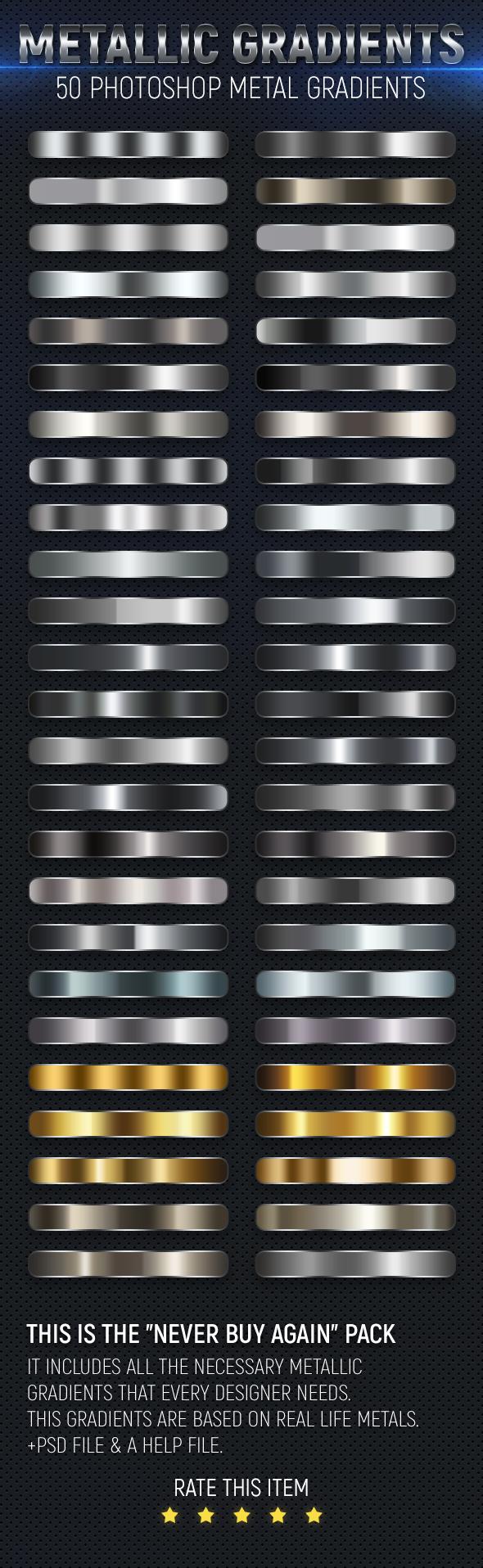 50 Metal Gradients - Textures / Fills / Patterns Photoshop