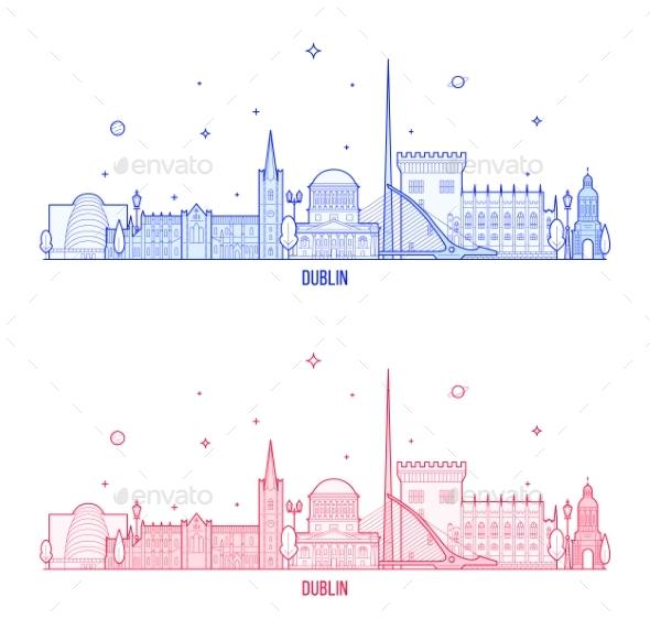 Dublin Skyline, Ireland City Buildings Vector - Buildings Objects