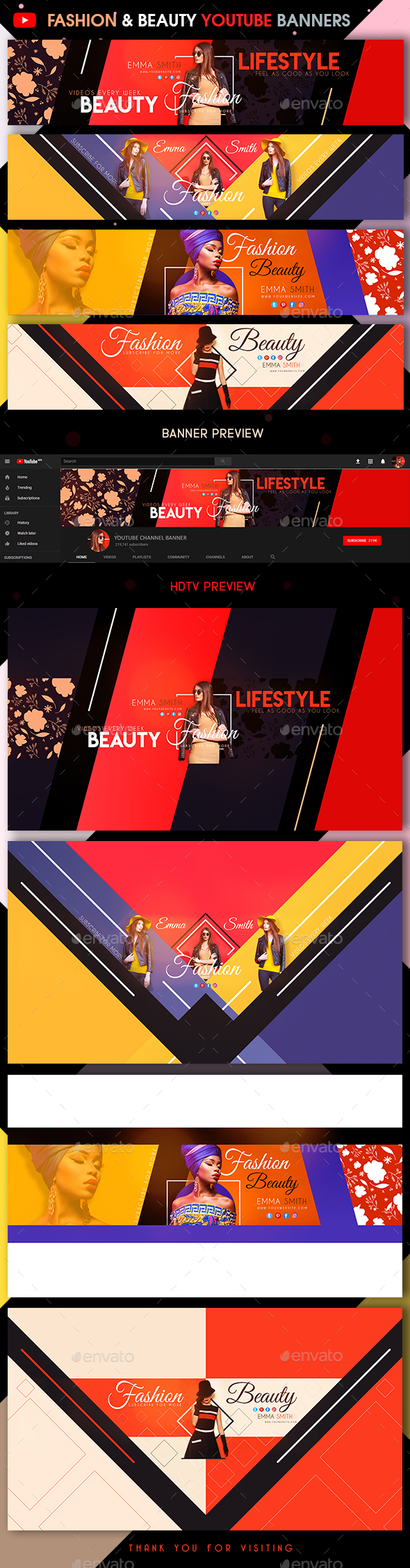 4 Fashion & Beauty YouTube Banners - YouTube Social Media