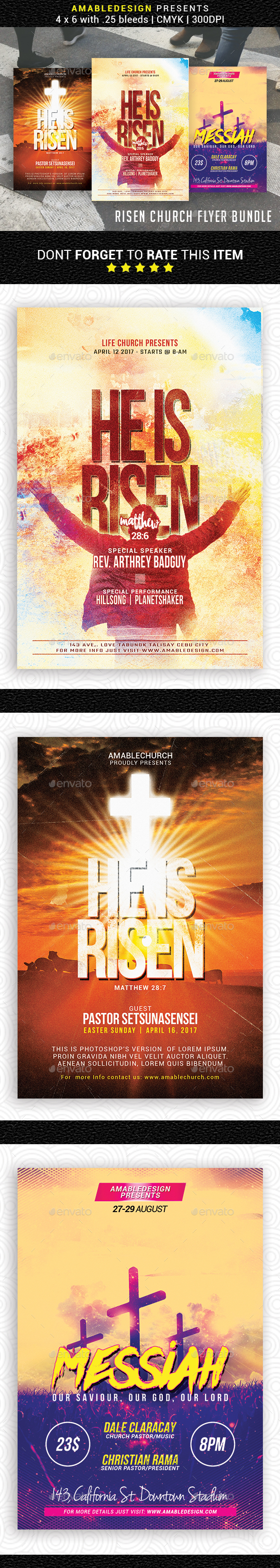 3 in 1 Risen Church Flyer/Poster Bundle - Church Flyers