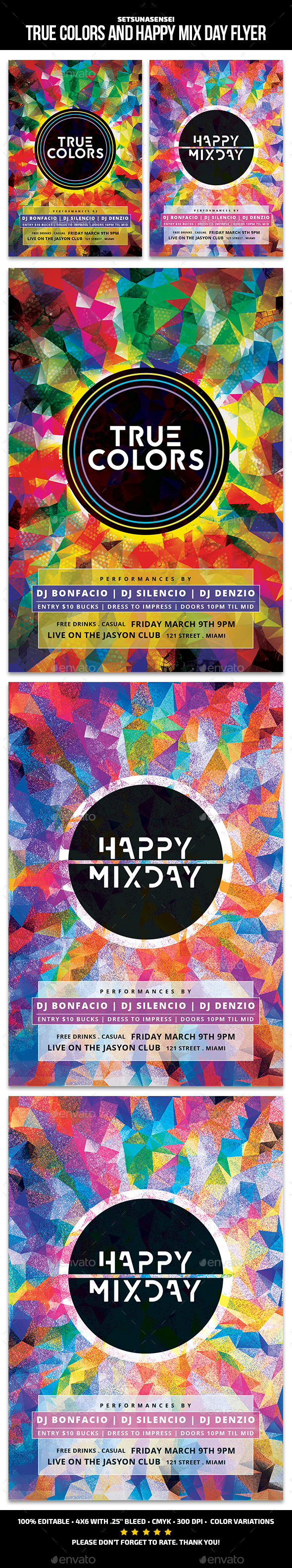 True Colors and Happy Mix Day Flyer - Events Flyers