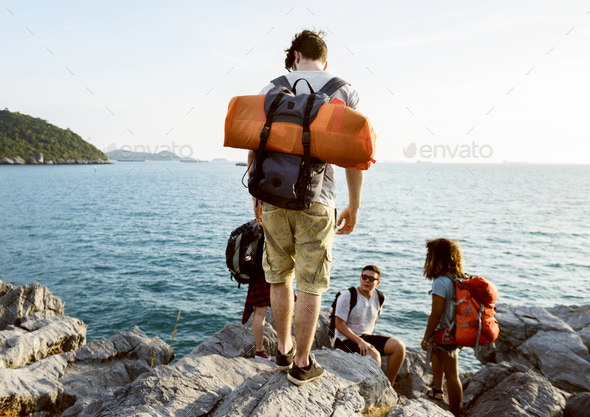 Backpackers on an adventure - Stock Photo - Images