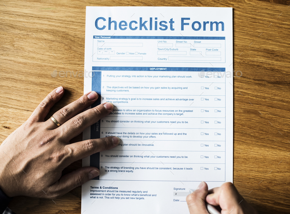 Closeup of life checklist form - Stock Photo - Images