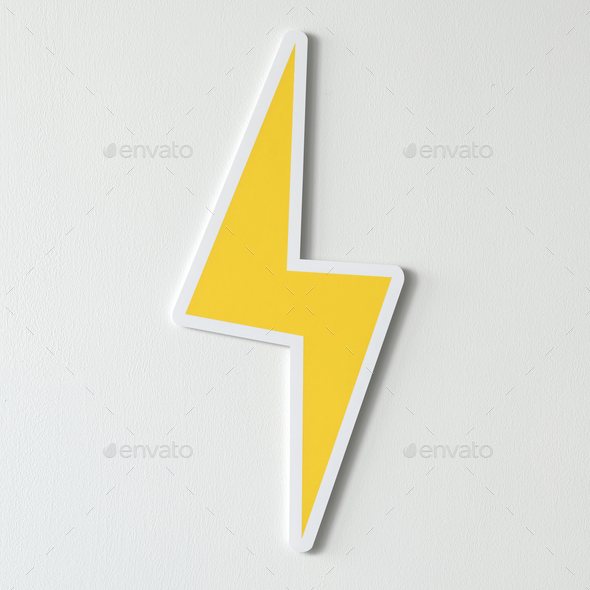 Yellow Electric Lightning Bolt Icon Stock Photo Images