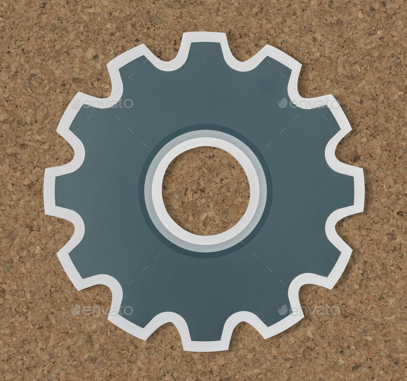 Paper craft of cog wheel icon symbol - Stock Photo - Images