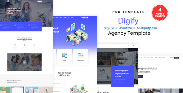 Digify - Digital and Marketing Agency PSD Template - Technology PSD Templates