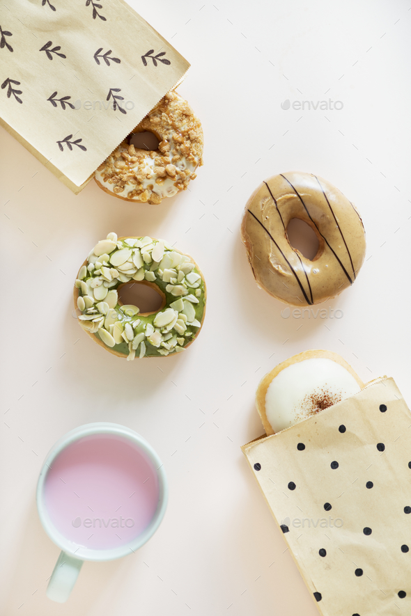 Aerial view of diverse donut - Stock Photo - Images