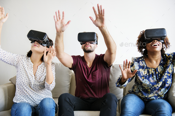 Friends enjoying VR - Stock Photo - Images