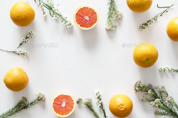 Assortment of tropical citrus fruits background - Stock Photo - Images