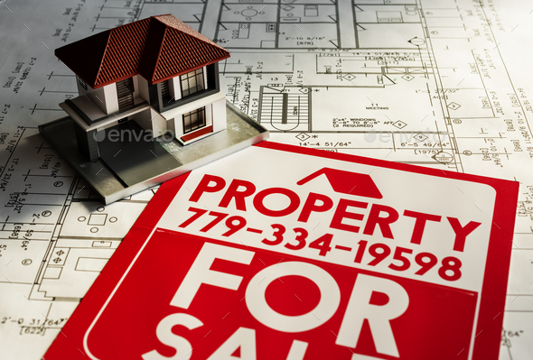Property for sale sign board - Stock Photo - Images