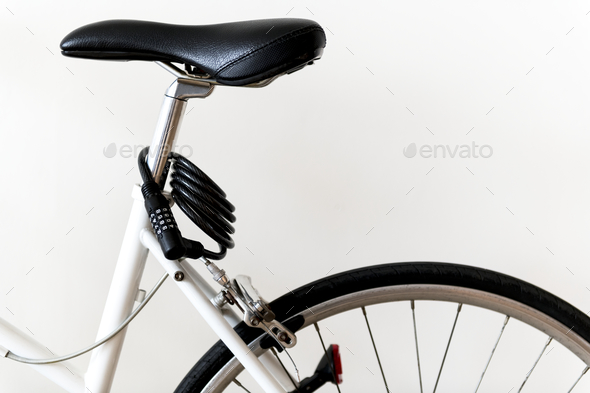 Closeup of mountain bike isolated on white background - Stock Photo - Images