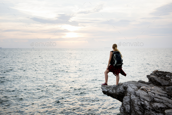 Woman staring at nature's beauty - Stock Photo - Images