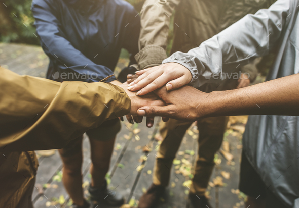 Hands join outdoor together - Stock Photo - Images