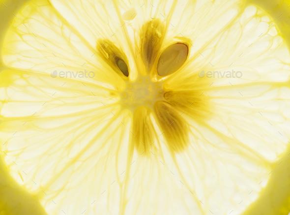 Macro shot of cut lemon - Stock Photo - Images