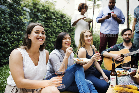 Group of people enjoying the music together - Stock Photo - Images