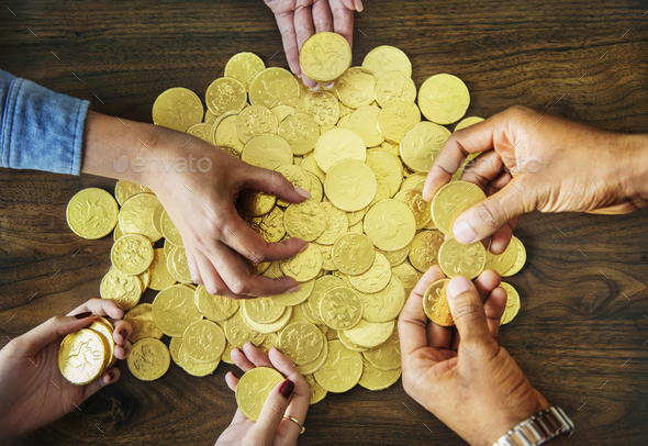 Golden chocolate coins - Stock Photo - Images