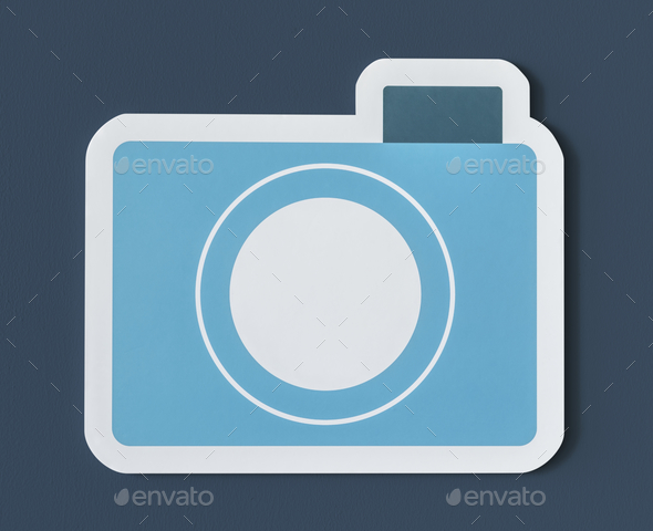 Icon of blue paper camera - Stock Photo - Images