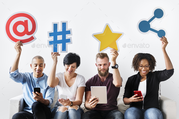 People holding an social media icon - Stock Photo - Images