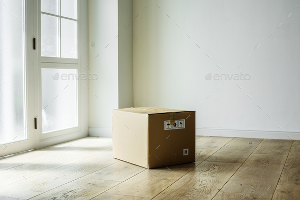 Packed stuff in new house - Stock Photo - Images