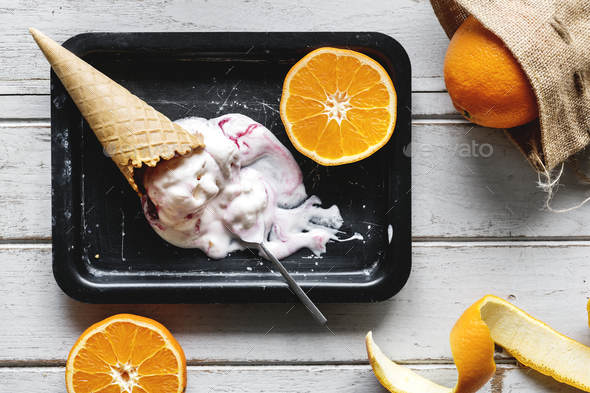 Delicious ice cream and oranges - Stock Photo - Images