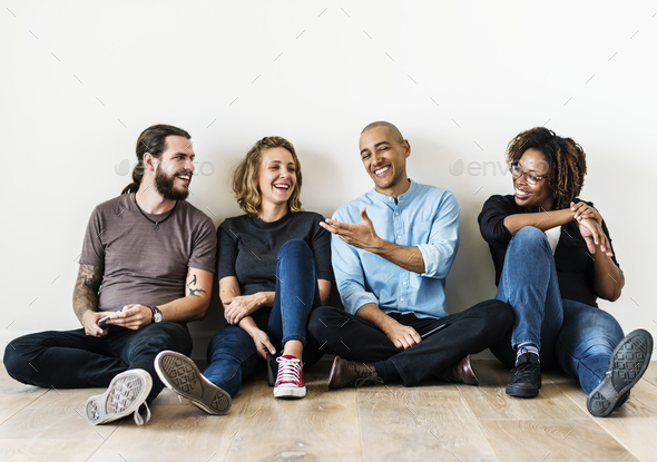 Diverse friends talking together - Stock Photo - Images