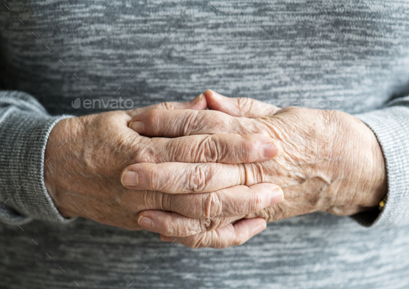 Closeup of elderly hands - Stock Photo - Images